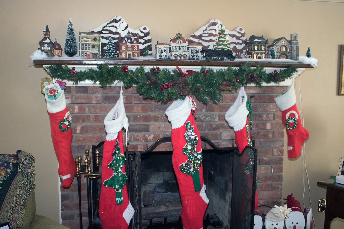 The stockings were hung by the chiminey with care......  ~~  in hopes that St. Nicholas soon woudl be there...